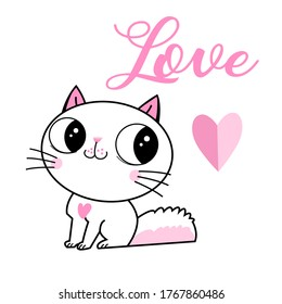 Vector loving kitten with a heart and the inscription love