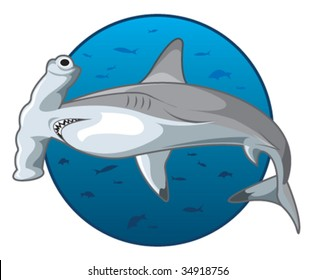 Vector - Low angle view of a Hammerhead Shark. Shark and background can be used separately.