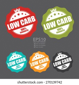 Vector : Low Carb 100% Guarantee Stamp, Badge, Label, Sticker or Icon