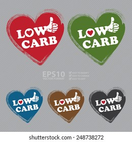 Vector : Low Carb Heart Shape Sticker, Icon or Label