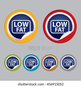 Vector : Low Fat Infographics Icon on Circle Peeling Sticker
