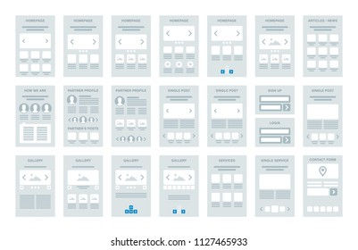 Vector low fidelity wireframe flowchart elements kit for use by designers as a UX design tool