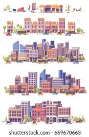 Vector low poly 2d city scenes set