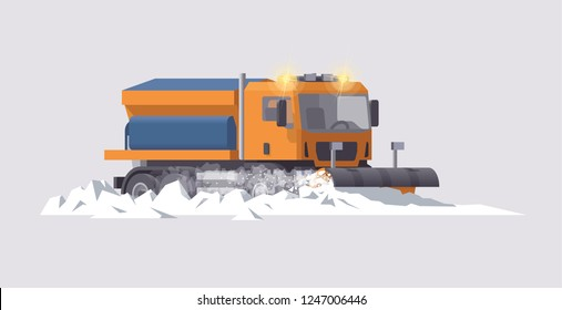 Vector low poly 3d isolated orange european snow plow removal spreader truck plowing snow cleaning road