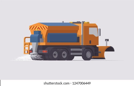 Vector low poly 3d isolated orange european snow plow removal spreader truck spreading salt