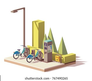 Vector low poly bicycle sharing system - two bikes, dock stations, payment terminal with bike station map