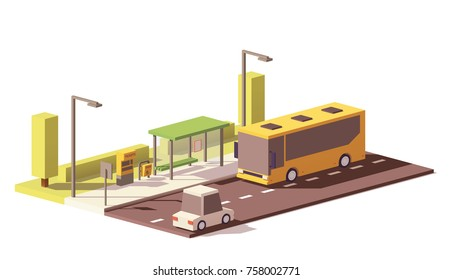 Vector low poly bus on the bus stop with ticket machine and litter bin