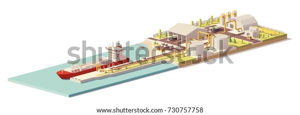 Vektor-LNG-Terminal für Low-Poly-Frachthafen mit Tankschiff- und LNG-Anlageninfrastruktur