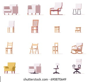 Vector low poly chairs and stools set