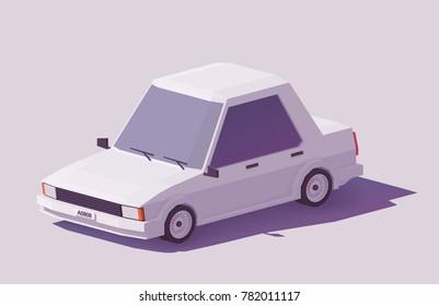 Vector low poly classic sedan car