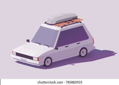Vector low poly classic station wagon car with roof rack box