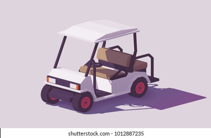 Vector low poly classic white golf cart