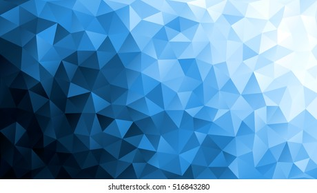 Vector Low poly colorful blue triangles background. Black, cyan, white colors. Modern backdrop. Gradation abstract fond. Shards. Polygonal pattern. EPS 8.