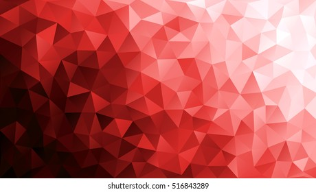Vector Low poly colorful red triangles background. Black, vinous, white colors. Modern backdrop. Gradation abstract fond. Shards. Polygonal pattern. EPS 8.