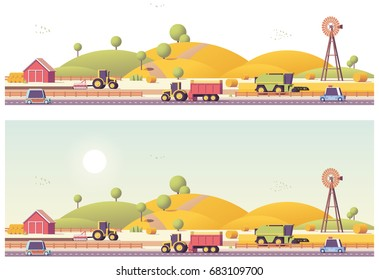 Vector low poly farm field works panorama