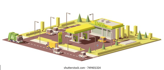 Vector low poly gas station with convenience store