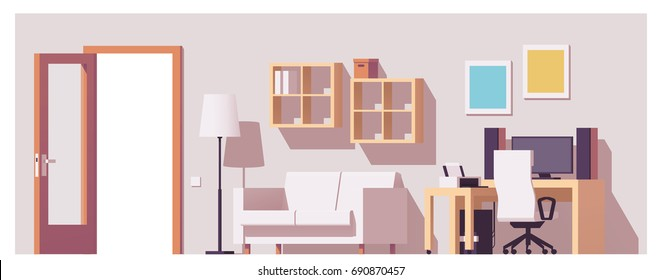 Vector low poly home office interior