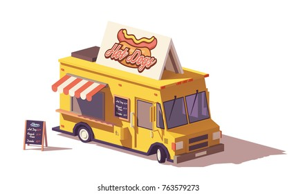 Vector low poly hot dog food truck or van with wooden menu