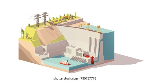 Vector low poly hydroelectric power station infrastructure. Includes river, dam and power lines
