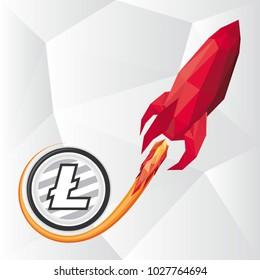 Vector low poly illustration of red rocket representing Litecoin skyrocketing