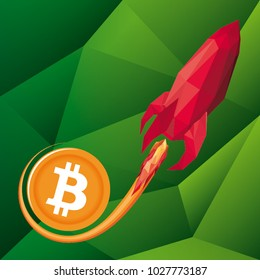 Vector low poly illustration of red rocket on green background representing bitcoin skyrocketing