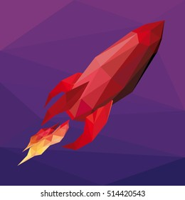 Vector low poly illustration of red rocket flying on purple background