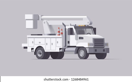 Vector low poly isolated american cherry picker utility bucket service truck 3d