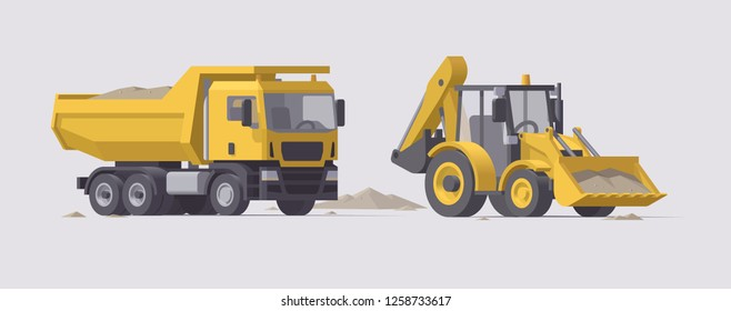 Vector low poly isolated yellow dump truck and backhoe loader with sand in bucket