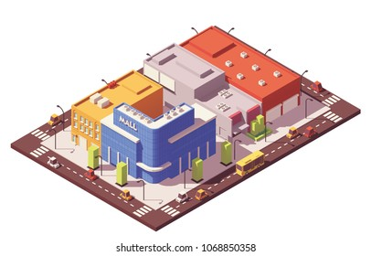 Vector low poly isometric city block with buildings, houses, stores