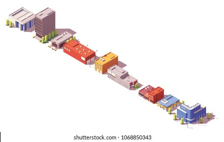 Vector low poly isometric modern city buildings, houses and stores set