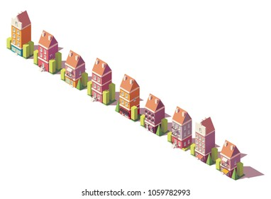 Vector low poly isometric old city buildings, houses and stores set
