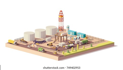 Vector low poly land oil or gas drilling rig and related machinery and structures