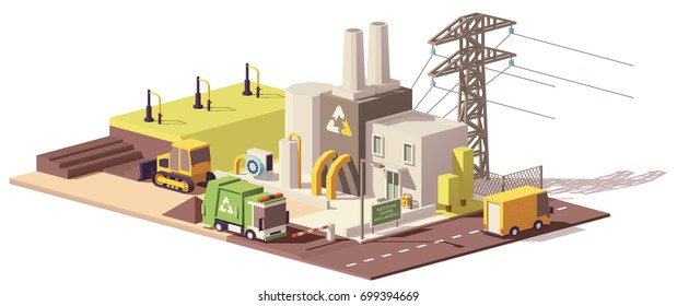Vector low poly landfill gas collection plant icon with power line, garbage truck and bulldozer working on landfill