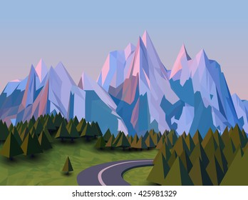 Vector low poly landscape 3d background. High mountains, with snow on the top, stylized pine trees, fields, and winding road. Sunset in nature.