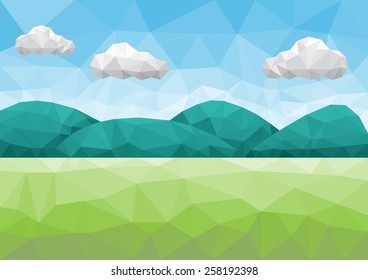 Vector low poly landscape background
