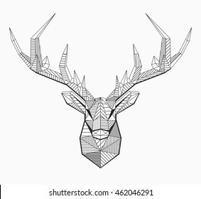 Vector low poly line art. Geometrical  reindeer illustration. Geometric zentangle animal. Ornamental stag head.