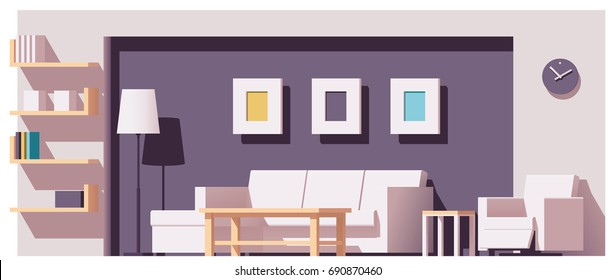 Vector low poly living room