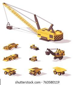 Vector low poly mining machines - excavators, dragline, bulldozers, haul trucks