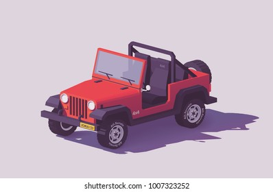 Vector low poly off-road 4x4 SUV car with roof rack and offroading equipment