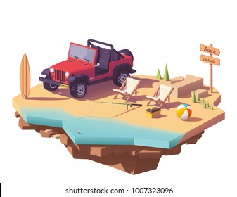 Vector low poly off-road vehicle on the beach seaside with deckchairs, surfing board and fishing equipment