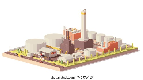 Vector low poly oil refinery plant with tankers for crude oil, processing facilities and petroleum storage tanks