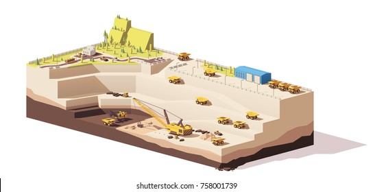 Vector low poly open pit coal mine quarry with mining haul trucks, rope shovel and dragline excavators
