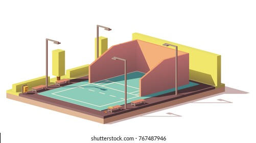 Vector low poly outdoor racquetball court
