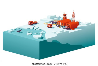 Vector low poly polar station with buildings, meteorological research measurement tower, vehicles and helipad