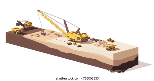 Vector low poly power shovel excavator, dragline excavators and mining haul truck working at the quarry