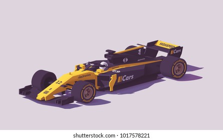 Vector low poly racing car in black and yellow livery