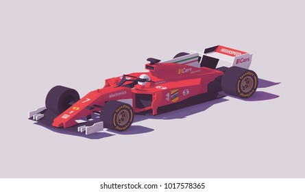 Vector low poly racing car in red livery