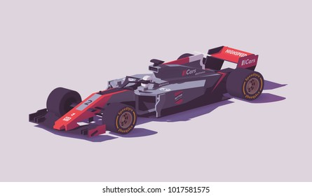 Vector low poly racing car in gray and red livery