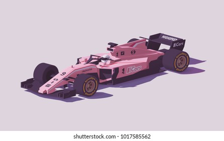 Vector low poly racing car in pink livery