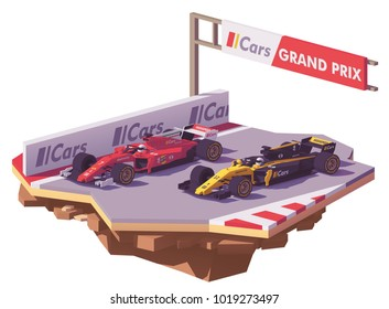 Vector low poly racing car in red livery overtaking yellow and black race car